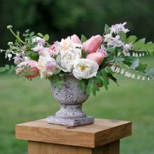 Tobey Nelson teaches a sustainable floristry centerpiece class in Langley at Living Design Foundation