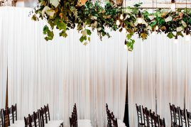 Greenery chandelier for Seattle wedding ceremony| Floral and Event design by Tobey Nelson | image by Alante Photography