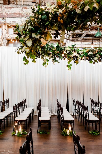 Greenery chandelier for Seattle wedding ceremony | Floral and Event design by Tobey Nelson | image by Alante Photography