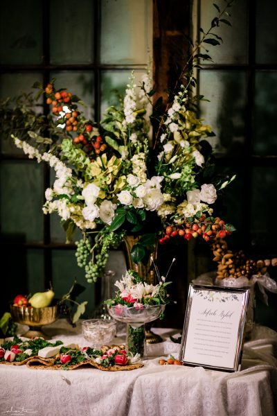 Fruit and flowers for the Sofreh Aghd table at a Persian Wedding in Seattle | Seattle Wedding at Sodo Park | Floral and Event design by Tobey Nelson | image by Alante Photography