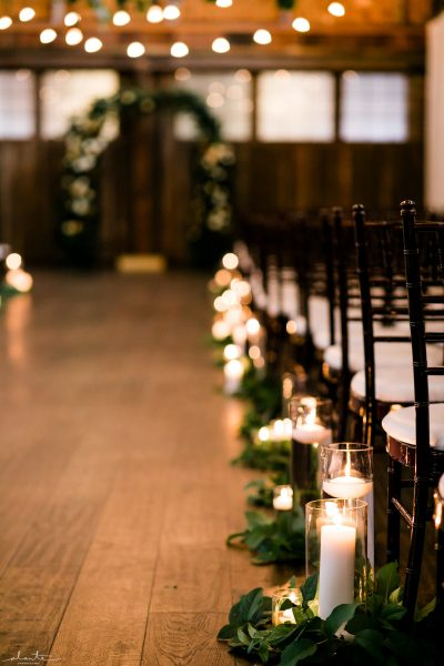 Aisle Decor with candles and greenery | Seattle Wedding at Sodo Park | Floral and Event design by Tobey Nelson | image by Alante Photography