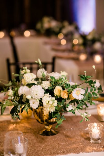 Compote floral centerpiece in white, butter, peach and green| Seattle Wedding at Sodo Park | Floral and Event design by Tobey Nelson | image by Alante Photography