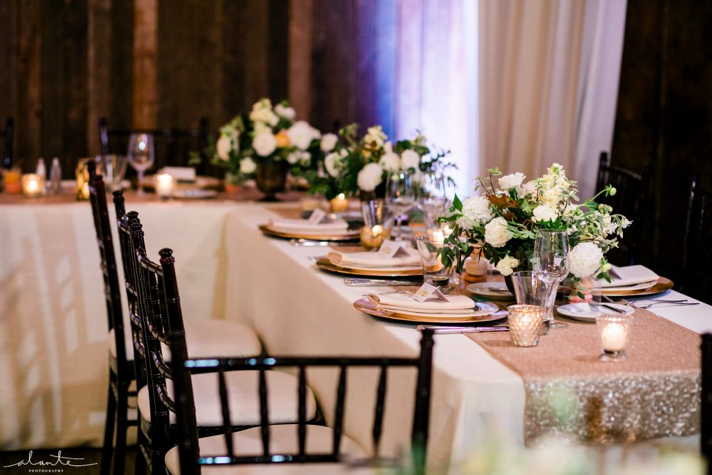 Head table | Seattle Wedding at Sodo Park | Floral and Event design by Tobey Nelson | image by Alante Photography
