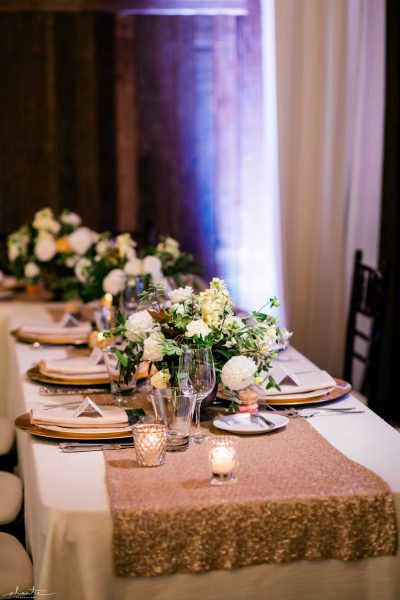 Head table with gold sequin runner | Seattle Wedding at Sodo Park | Floral and Event design by Tobey Nelson | image by Alante Photography