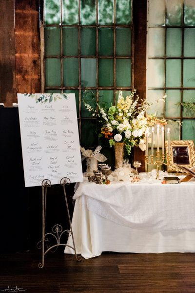 Sofreh Aghd sign | Seattle Wedding at Sodo Park | Floral and Event design by Tobey Nelson | image by Alante Photography