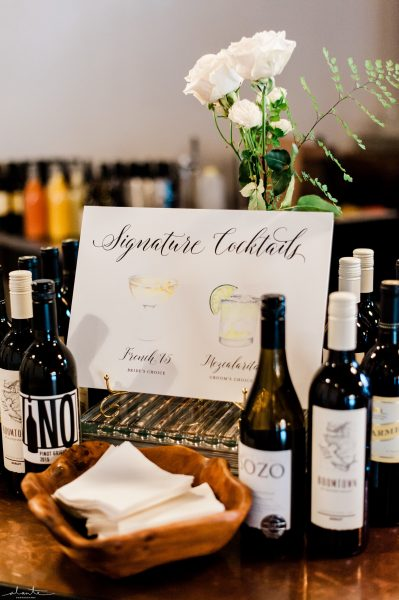 Signature Cocktail sign by Phenix Paper Company| Seattle Wedding at Sodo Park | Floral and Event design by Tobey Nelson | image by Alante Photography
