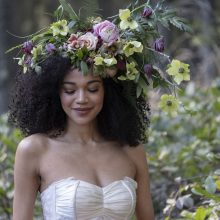 Floral headpiece by Tobey Nelson Events | photo by Heather Saunders | Hair and Make Up Artist Anne Timss