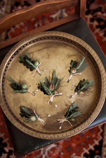 Foliage Boutonniere for a Groom and his groomsmen | Whidbey Island wedding flowers by Tobey Nelson | image by