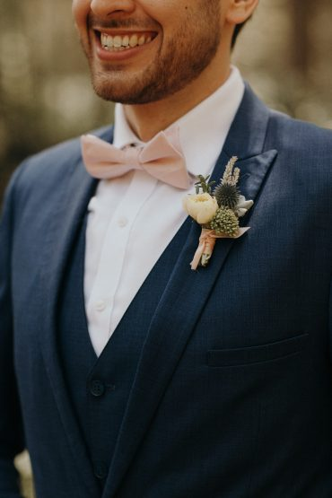 Boutonniere with Rose, Thistle, Lavender and Sedum | Whidbey Island wedding flowers by Tobey Nelson Events | image by Jordan Voth Photography