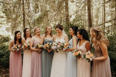 Summer garden flower bridal bouquets in peach, blush, blue and white | Whidbey Island wedding flowers by Tobey Nelson Events | image by Jordan Voth photography