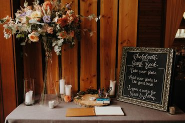 Welcome Table Flowers | Fireseed Catering wedding | Flowers by Tobey Nelson Events | image by Jordan Voth Photography