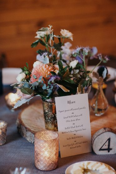 Rustic garden flower centerepiece | Fireseed Catering wedding | Flowers by Tobey Nelson Events | image by Jordan Voth Photography
