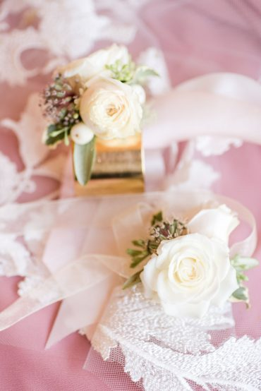 White and blush bracelet corsages with Ranunculus and Rose | Snohomish wedding flowers | Tobey Nelson Events