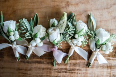 White boutonnieres with Snowberry and Eucalyptus | Snohomish wedding flowers | Tobey Nelson Events