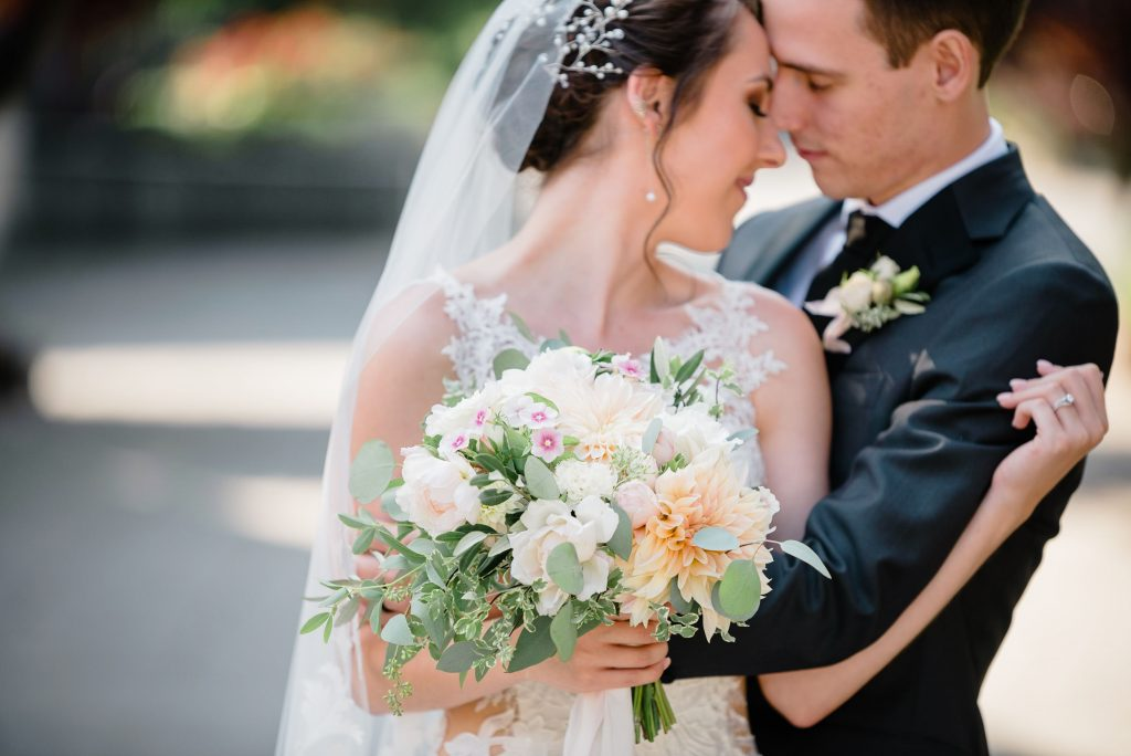 Blush and white bridal bouquet with Roses and Dahlias | Snohomish wedding flowers by Tobey Nelson Events