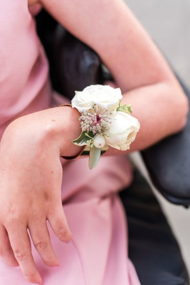 Blush and white fresh flower bracelet corsage by Tobey Nelson Events | Lord Hill Farms wedding | Lloyd Photographers