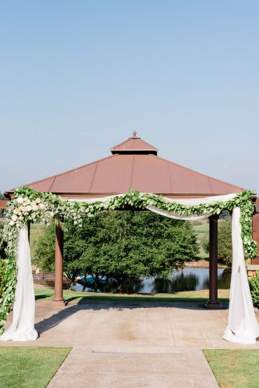 Wedding arbor with greenery, Blush and white summer flowers by Tobey Nelson Events | Lord Hill Farms wedding | Lloyd Photographers