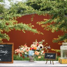 welcome table flowers | colorful wedding flowers by Tobey Nelson Events | Photo by John Lao