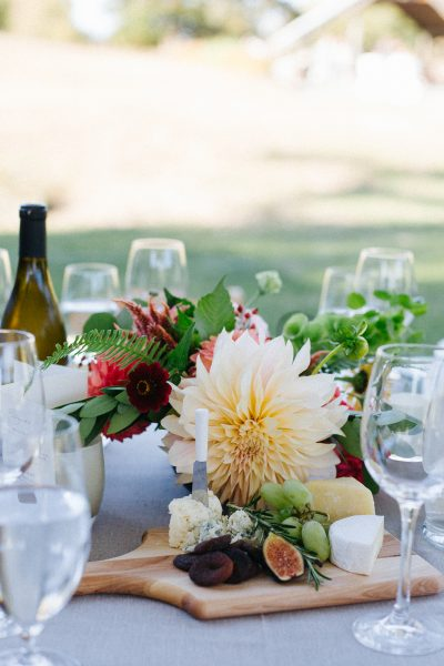 Tablescape tips by Tobey Nelson Events | Include a lovely cheese and fruit board as a part of your centerpiece | Catering by Serendipity Whidbey