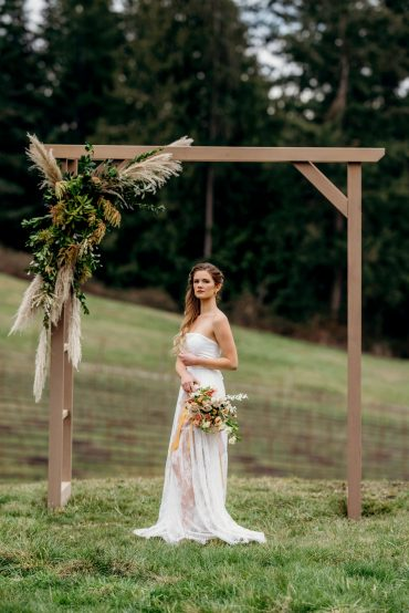 Wedding Arbor decor with Pampas grass by Tobey Nelson Events | Suzanne Rothmeyer Photography | wood arbor rental Whidbey Event Rentals
