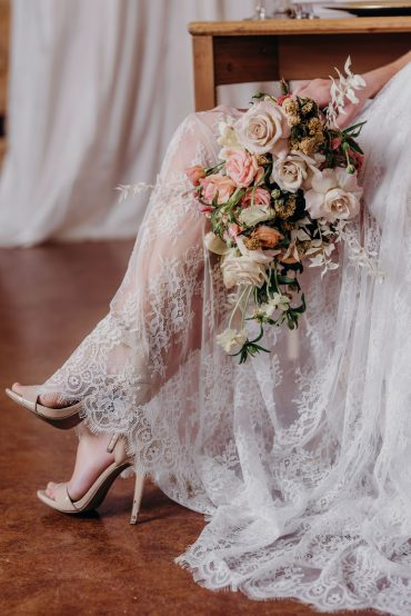 Bridal bouquet in neutral tones with dried flowers and bleached Ruscus | Tobey Nelson Events | Suzanne Rothmeyer Photography