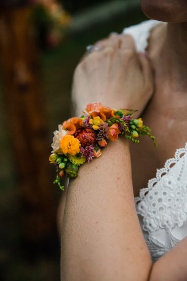 orange, peach and coral wrist corsage