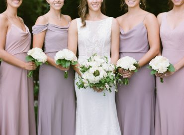 Romantic blush and white bridesmaid bouquets | bridesmaids in blush and lavender gowns | Backyard Seattle Wedding | Flowers by Tobey Nelson Events | image by Katie Parra Photography | planning by The Invisible Hostess