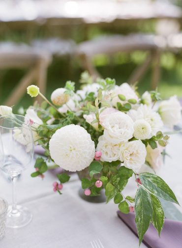 Wedding centerpiece with Dahlia, Lisianthus, Rose | blush and white garden wedding flowers | Seattle backyard Lake Washington Lakeside wedding | Flowers by Tobey Nelson Events | image by Katie Parra Photography | planning by The Invisible Hostess