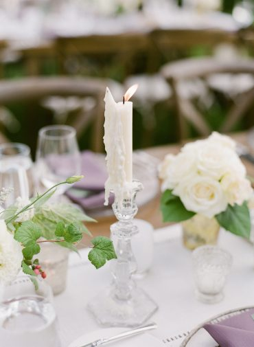Taper candles | Romantic blush and white wedding flowers for a backyard Lake Washington Lakeside wedding in Seattle | Flowers by Tobey Nelson Events | image by Katie Parra Photography | planning by The Invisible Hostess