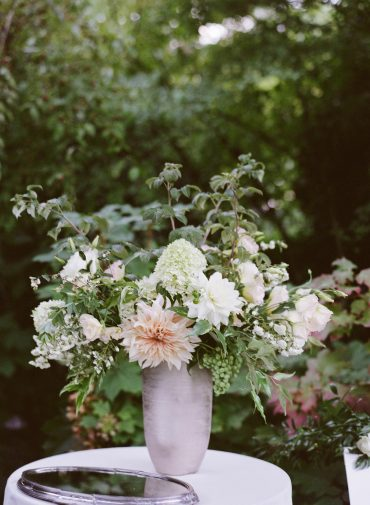 Romantic blush and white Wedding Flowers welcome table statement bouquet for a Lake Washington Lakeside wedding in Seattle | Flowers by Tobey Nelson Events | image by Katie Parra Photography | planning by The Invisible Hostess