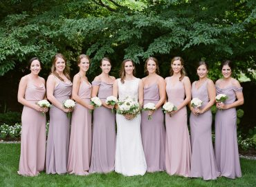 Romantic blush and white bridesmaid bouquets | blush bridesmaid gowns, lavender bridesmaid gowns | Backyard Seattle Wedding | Flowers by Tobey Nelson Events | image by Katie Parra Photography | planning by The Invisible Hostess