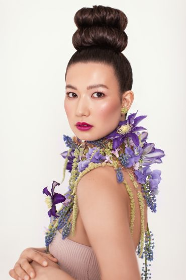 Floral collar with Clematis and Amaranth by Tobey Nelson