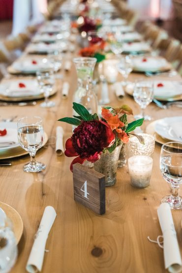 Simple table florals for a family style meal at Fireseed Catering on Whidbey Island