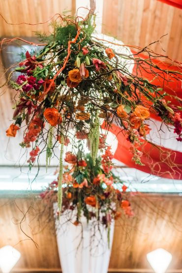 Foam-free ceiling floral installation at Fireseed Catering