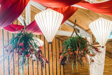 Hanging floral installation made with locally grown flowers and no floral foam by Whidbey Island Florist Tobey Nelson Events