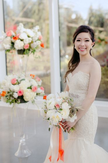 Bride and her wedding flowers | Seattle wedding flowers by Tobey Nelson Events | image by GH Kim Photography