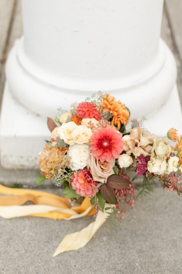 Bridal bouquet with Dahlias and Roses in coral, white, butter and neutral tones