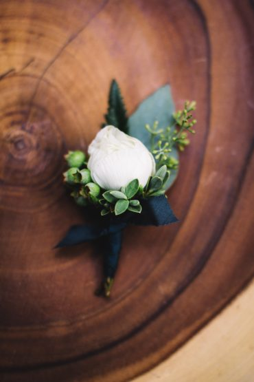 Navy and white boutonniere with blueberry accents | Boutonniere | Tobey Nelson Events and Design | Whidbey Island wedding at Fireseed Catering