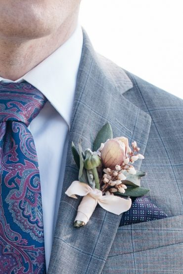 Groom's Boutonniere with Hellebore, Pieris and Dusty Miller | Blush and white wedding boutonniere by Tobey Nelson Events | image by Melissa Days Photography