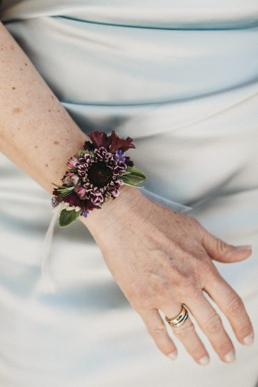 Wrist Corsage in plum and white | Tobey Nelson Events