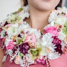 Pink and white floral necklace with Ranunculus, Pieris and Hellebore | Floral Couture by Tobey Nelson | image by Aly Willis Photography