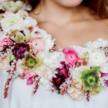 Floral collar with all American-grown white and pink spring flowers including Ranunculus and Hellebore | Floral Couture by Tobey Nelson image by Aly Willis Photography