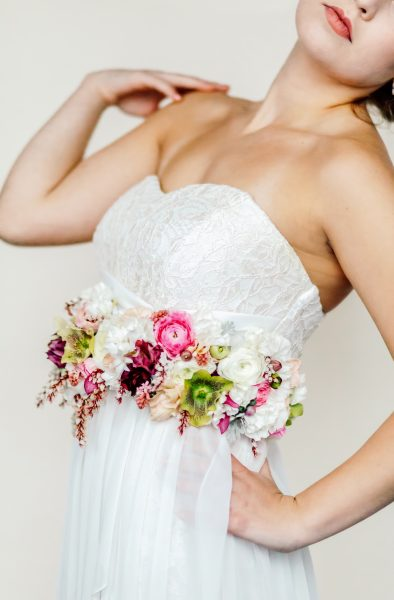 Bride with a floral belt