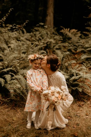Flower girl with flower crown | Earthy Guemes Island wedding | Flowers by Tobey Nelson | image by Breeanna Lasher
