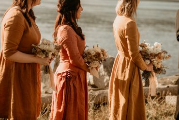 Bridesmaid bouquets | Rust, gold and rose bridesmaid dresses | Earthy Guemes Island wedding | Flowers by Tobey Nelson | image by Breeanna Lasher