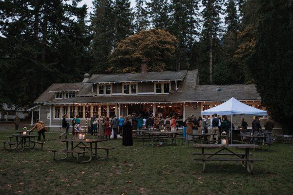 wedding reception outside Rosemary Hall at NatureBridge