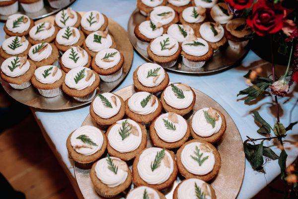 Vegan cupcakes with cedar sprig detail