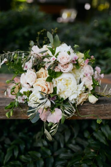 bridal bouquet with white and pink roses
