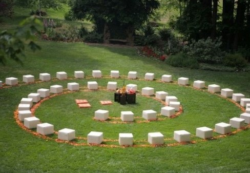 spiral wedding seating with backless poufs